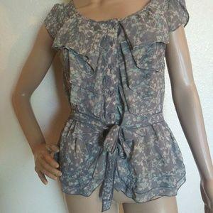 Lauren Conrad Sheer Floral Button Up Top